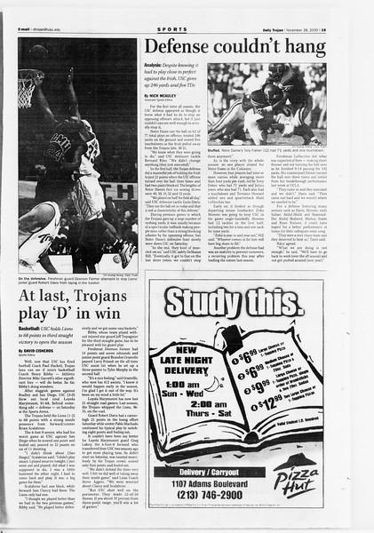 Daily Trojan, Vol. 141, No. 60, November 28, 2000