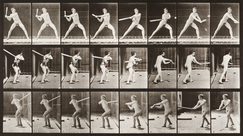 Nude man playing baseball, batting (Animal Locomotion, 1887, plate 276)