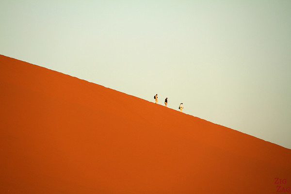 Walking down dune 45, Sossusvlei, Namibia photo 1