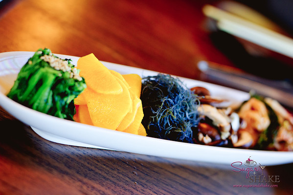 Star Noodle's Namul – Kimchee, Watercress, Takuan, Ogo (seaweed), Shiitake Mushrooms. © 2012 Sugar + Shake