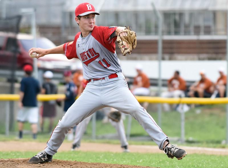 070617  Wesley Bunnell | Staff  Southington vs Bristol in American Legion Baseball on Thursday evening at Southington High School. Kenneth Knox Jr (11).