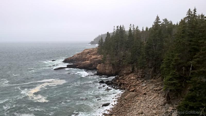 a foggy view of the rocky coastline
