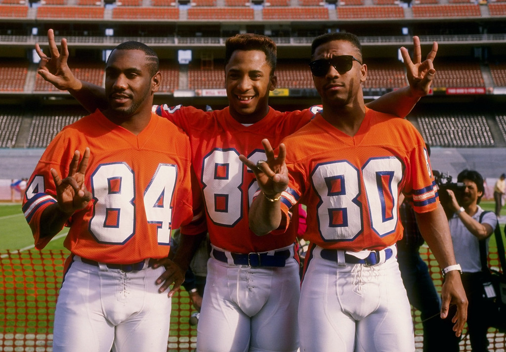 . Receivers Ricky Nattiel (left), Vance Johnson (center) and Mark Jackson of the Denver Broncos, The Three Amigos, pose for the camera during Media Day for Super Bowl XXII at Jack Murphy Stadium in San Diego, California. Rick Stewart/Allsport