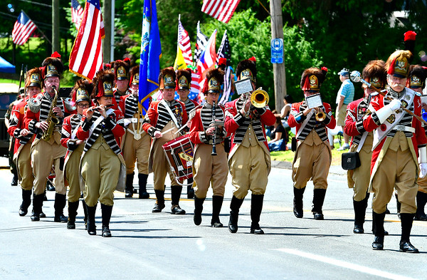 5/25/2019 Mike Orazzi | Staff Members of the First Company Governor's Foot Guard march during the annual Newington Memorial Day parade on Saturday.