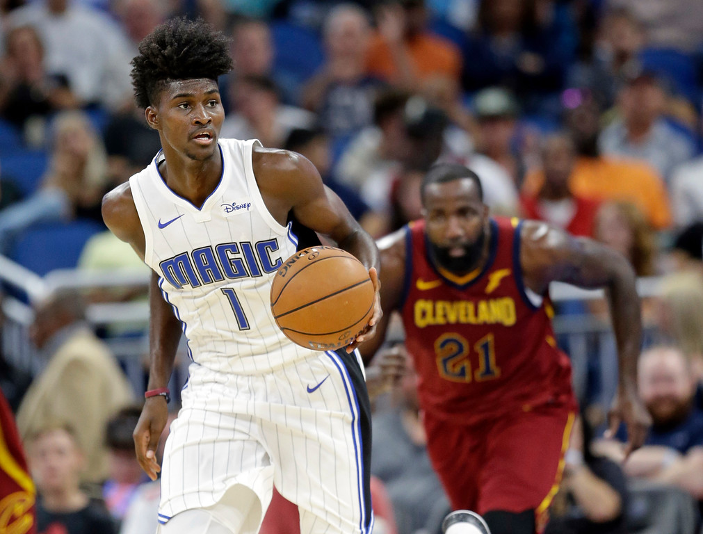 . during the second half of an NBA preseason basketball game, Friday, Oct. 13, 2017, in Orlando, Fla. Cleveland won 113-106. (AP Photo/John Raoux)