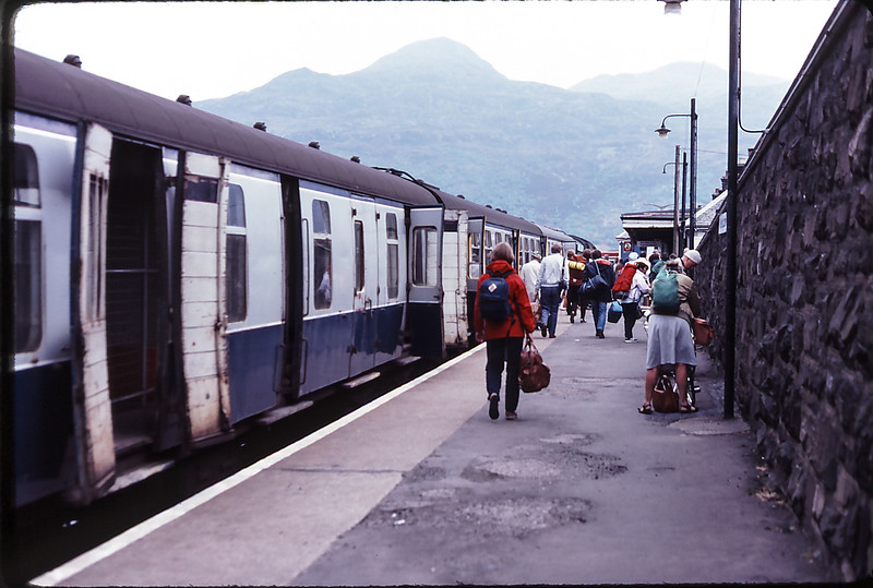 Changing trains in Kyle of Lochalsh, Scotland, 1984