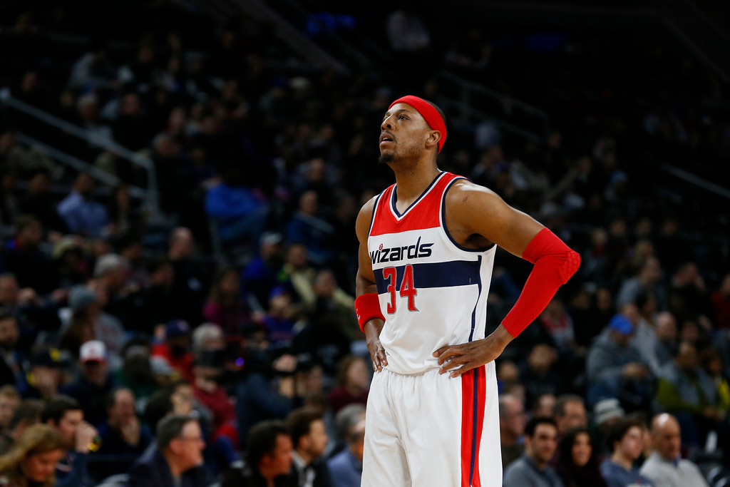 . Washington Wizards forward Paul Pierce plays against the Detroit Pistons in the first half of an NBA basketball game in Auburn Hills, Mich., Sunday, Feb. 22, 2015. (AP Photo/Paul Sancya)