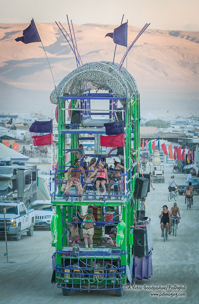 A three-story mobile EDM art car.