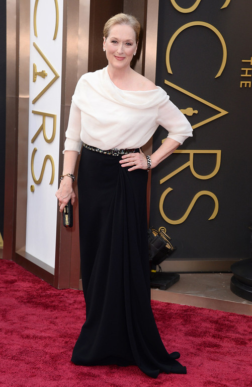 . Meryl Streep arrives at the Oscars on Sunday, March 2, 2014, at the Dolby Theatre in Los Angeles.  (Photo by Jordan Strauss/Invision/AP)