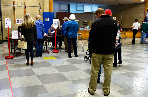 11/6/2018 Mike Orazzi | Staff Voters in line at the Edgewood School in Bristol Tuesday afternoon.