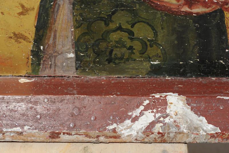 Vorzustand: Anna Altar, Predella, Vorderseite unten links, Wachs, Malschichtverlust AAF_0985_27-10-2011