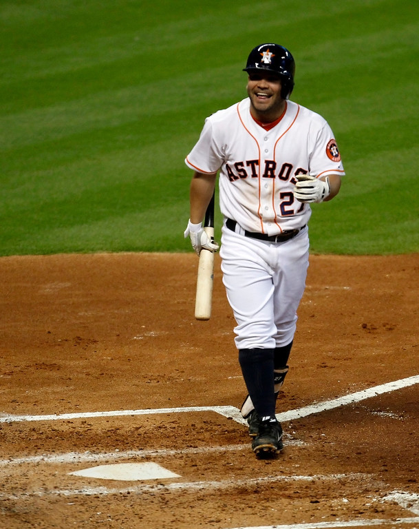 . Houston Astros Jose Altuve reacts after striking out in the fourth inning of a baseball game against the Los Angeles Angels Saturday, Sept. 14, 2013 at Minute Maid Park in Houston. (AP Photo/Eric Christian Smith)