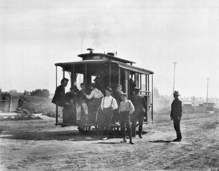 Street car from the Steam Motorcar Line on Santa Fe Avenue and 9th Street, Los Angeles, ca.1897