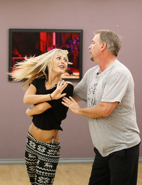 """. DANCING WITH THE STARS - Rehearsals - This season\'s dynamic lineup of stars will perform for the first time on live national television with their professional partners during the two-hour season premiere of \""""Dancing with the Stars,\"""" MONDAY, SEPTEMBER 16 (8:00-10:01 p.m., ET) on the ABC Television Network.  (ABC/Rick Rowell) EMMA SLATER, BILL ENGVALL"""