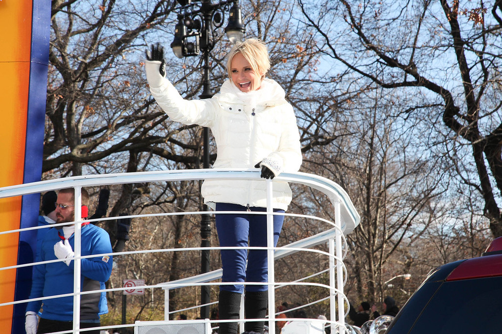 ". Quantum Of The Seas Godmother Kristin Chenoweth sails down the streets of New York onboard Royal Caribbeans new float, ""A World at Sea,\"" as part of the 87th Annual Macy\'s Thanksgiving Day Parade festivities on November 28, 2013 in New York City.  (Photo by Rob Kim/Getty Images)"