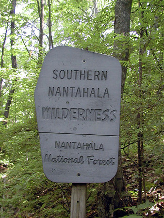 Wilderness Sign along the A.T. to Standing Indian Summit from Deep Gap