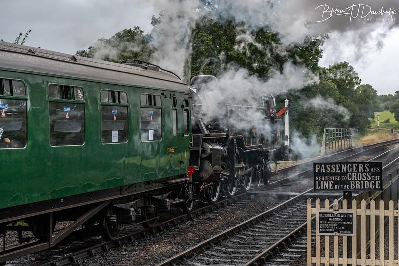 British Railways Standard Class 4MT 2-6-4 Tank Locomotive No 80151 departs Sheffield Park Station