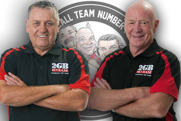 Continuous Call Team hosts Ray Hadley and Bob Fulton (photo credit: 2GB)