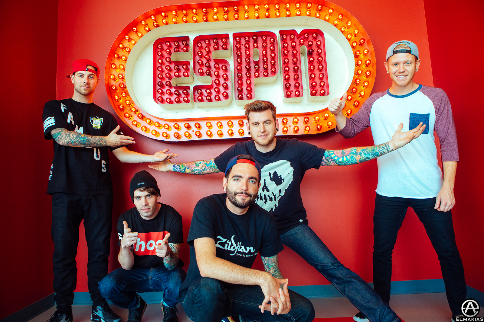 ESPN with A Day To Remember, this is their original sign by Adam Elmakias