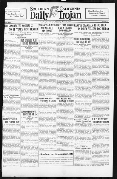 Daily Trojan, Vol. 16, No. 72, March 19, 1925