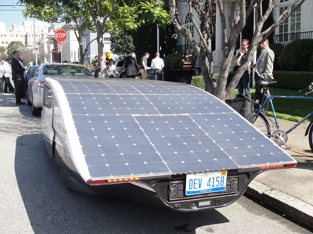 . Solar panels covering Stella\'s roof fuel the street-legal family car parked in San Francisco, September 22, 2014.   GLENN CHAPMAN/AFP/Getty Images