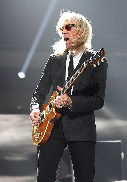 . Longtime Elton John Band guitarist, Davey Johnstone performs at Joe Louis Arena on Friday night. Photo by Ken Settle