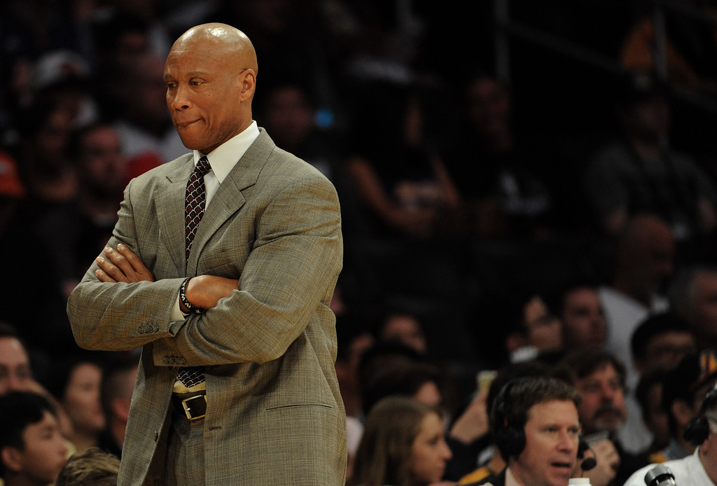 . Los Angeles Lakers head coach Byron Scott in the first half of a NBA basketball game against the Minnesota Timberwolves at Staples Center on Tuesday, Feb. 2, 2015 in Los Angeles.   (Photo by Keith Birmingham/ Pasadena Star-News)