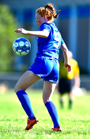 9/17/2019 Mike Orazzi | StaffrSt. Paul's Abbey Stanford (5) during girls soccer with Woodland in Bristol Tuesday afternoon.