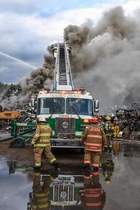 Neville Township scrap pile fire at Metallico