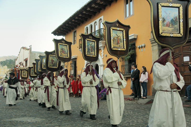 Lent processioners move through the streets of Antigua, Guatemala on February 17, 2013. Photo by Scott Umstattd