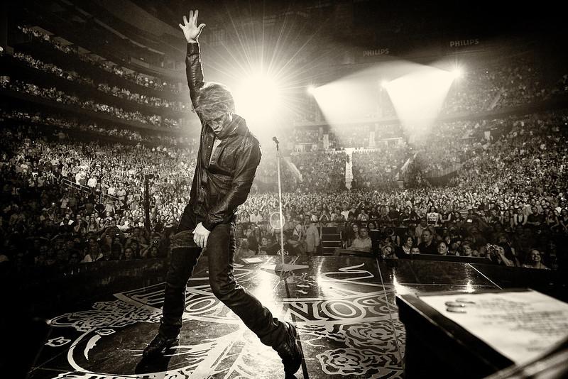 . April 15, 2010 - Jon Bon Jovi performs on stage with his band Bon Jovi at the Phillips Arena in Atlanta, GA on April 15, 2010.  (Photo credit: David Bergman / Bon Jovi)