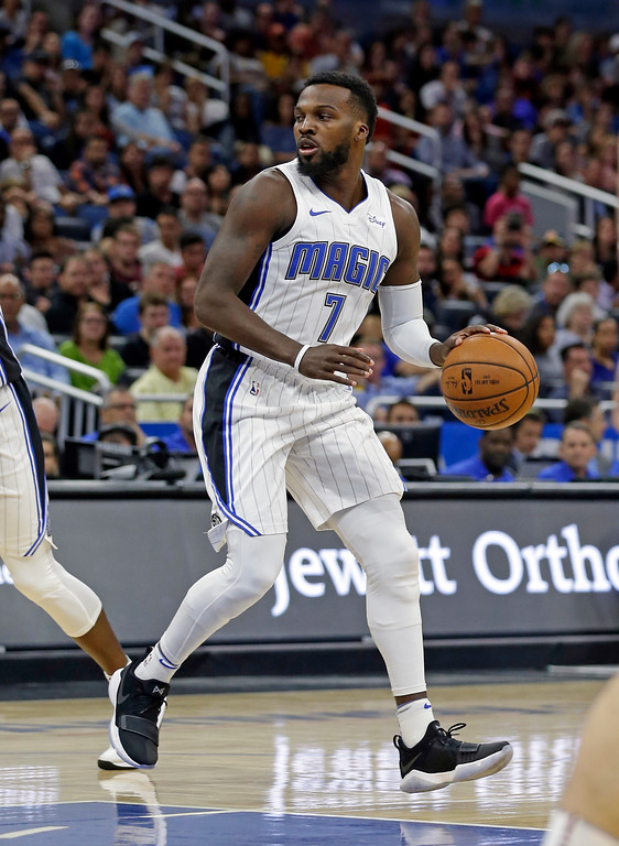 . Orlando Magic\'s Shelvin Mack (7) moves the ball against the Cleveland Cavaliers during the second half of an NBA preseason basketball game, Friday, Oct. 13, 2017, in Orlando, Fla. Cleveland won 113-106. (AP Photo/John Raoux)