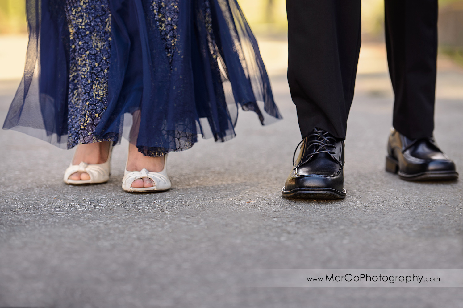 shoe shot of Indian couple in blue clothes walking during engagement session at San Francisco Presidio Park