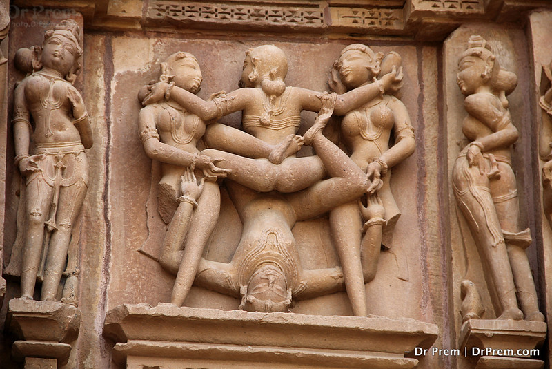 It is symbol of Kama Sutra- a lesson of doing sex with different style. One man is doing sex with many lady. The sex culture was open in the society at medieval time in India.