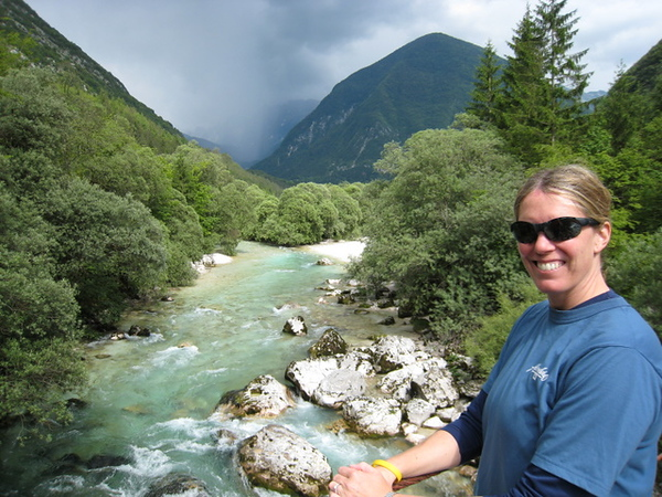 The blue water of the Soca River