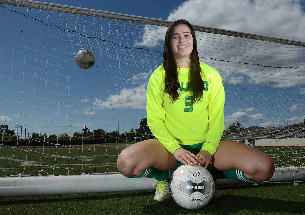 . Tanya Samarzich of Upland High School is the player of the year and has been named to The Sun\'s All-Valley Girl\'s soccer team. Staff photo by Will Lester.