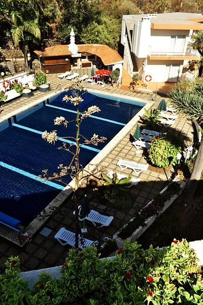 Jeden z hotelových bazénů, konkrétně v pátém patře. Pak byl jeden ještě vedle restaurace a na střeše hotelu byl další, ovšem ten byl vyhrazen pro naturisty.
