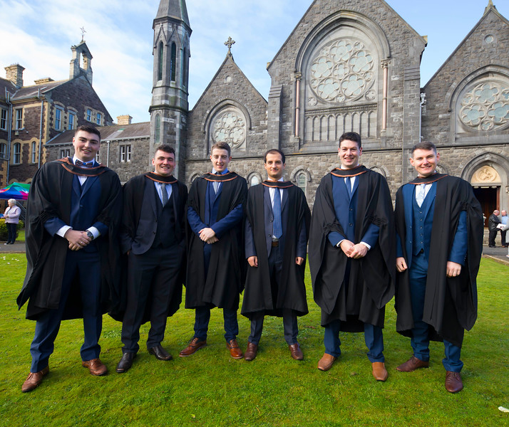 02/11/2017. Waterford Institute of Technology Conferring are Denis Tracey Kilkenny, James O'Niell Waterford, Kieran Joy Dunmore East, Co. Waterford, Gabrielle Furdui, Newcastle upon Tyne, Joe Irish Slieve Rue, Co. Kilkenny and Niall Daly Waterford who graduated Bachelor of Arts Honours in International Business. Picture: Patrick Browne.