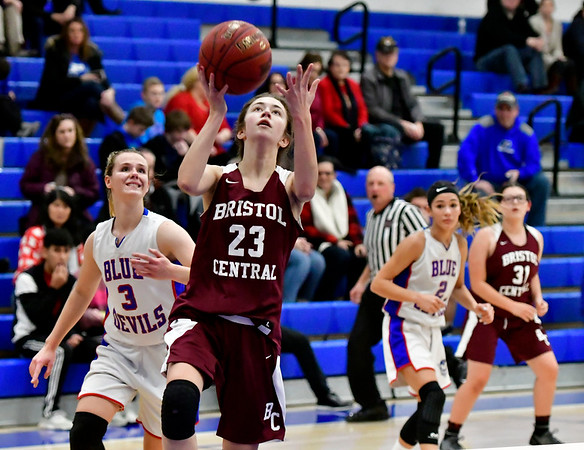 12/13/2018 Mike Orazzi | Staff Bristol Central's Ella Watson (23) during Thursday night's basketball game at PHS.