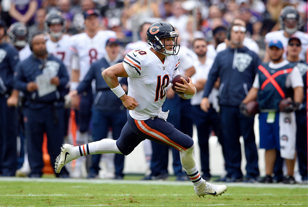. Chicago Bears quarterback Mitchell Trubisky rushes the ball in the first half of an NFL football game against the Baltimore Ravens, Sunday, Oct. 15, 2017, in Baltimore. (AP Photo/Nick Wass)