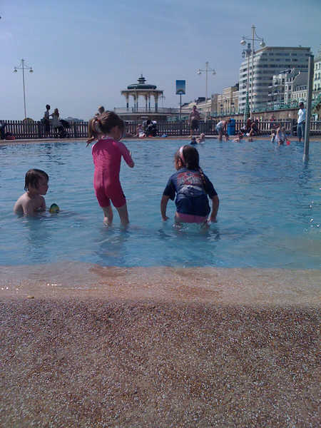 Sam and Cerys head into the pool