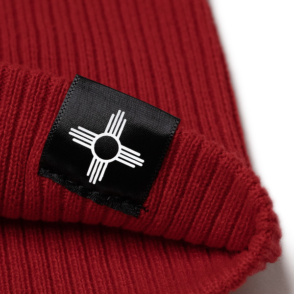 Outdoor Apparel - Organ Mountain Outfitters - Hat - Ribbed Skully Knit Beanie - Red Detail Zia Tag.jpg