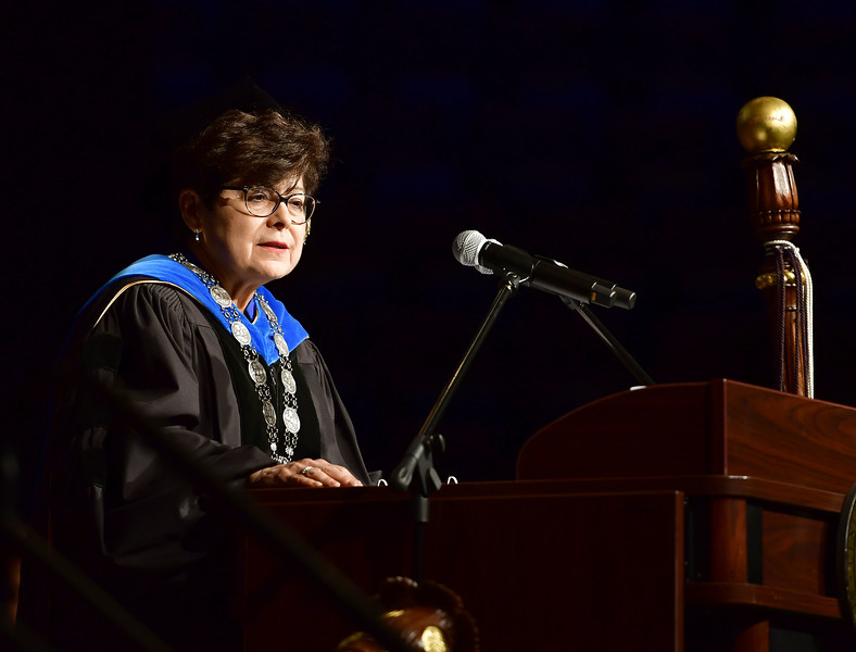 5/18/2019 Mike Orazzi   Staff Central Connecticut State University President Zulma R. Toro on commencement day at the XL Center in Hartford on Saturday.