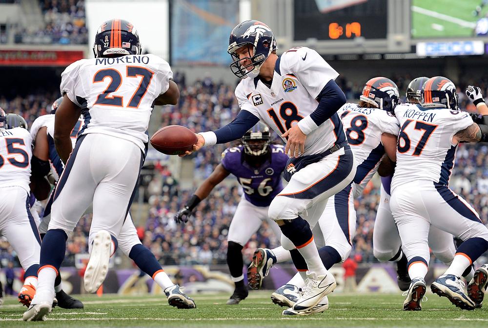 . Denver Broncos quarterback Peyton Manning (18) hands off to Denver Broncos running back Knowshon Moreno (27) during the second quarter Sunday, December 16, 2012 at M&T Bank Stadium. John Leyba, The Denver Post