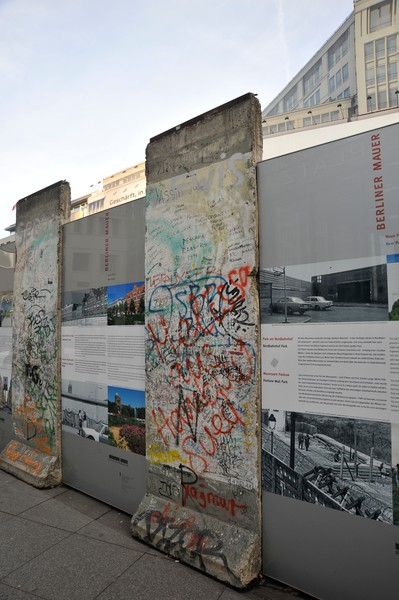 Blocks of the Berlin Wall on display near the Potsdamer Platz, Berlin.
