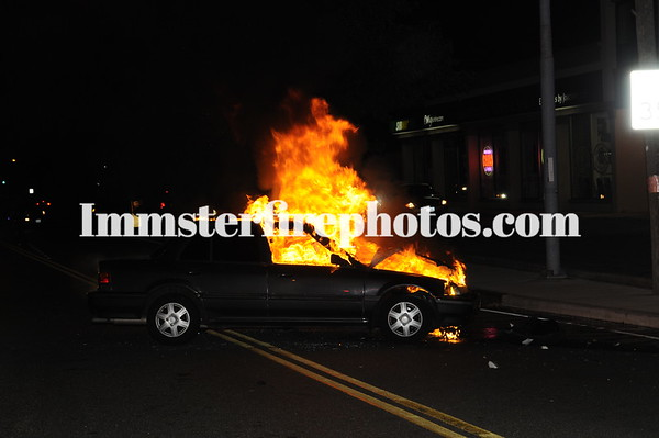 SYOSSET JACKSON AVE MVA & CAR FIRE 7-21-13