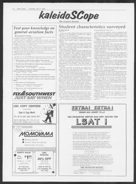 Daily Trojan, Vol. 100, No. 52, April 03, 1986