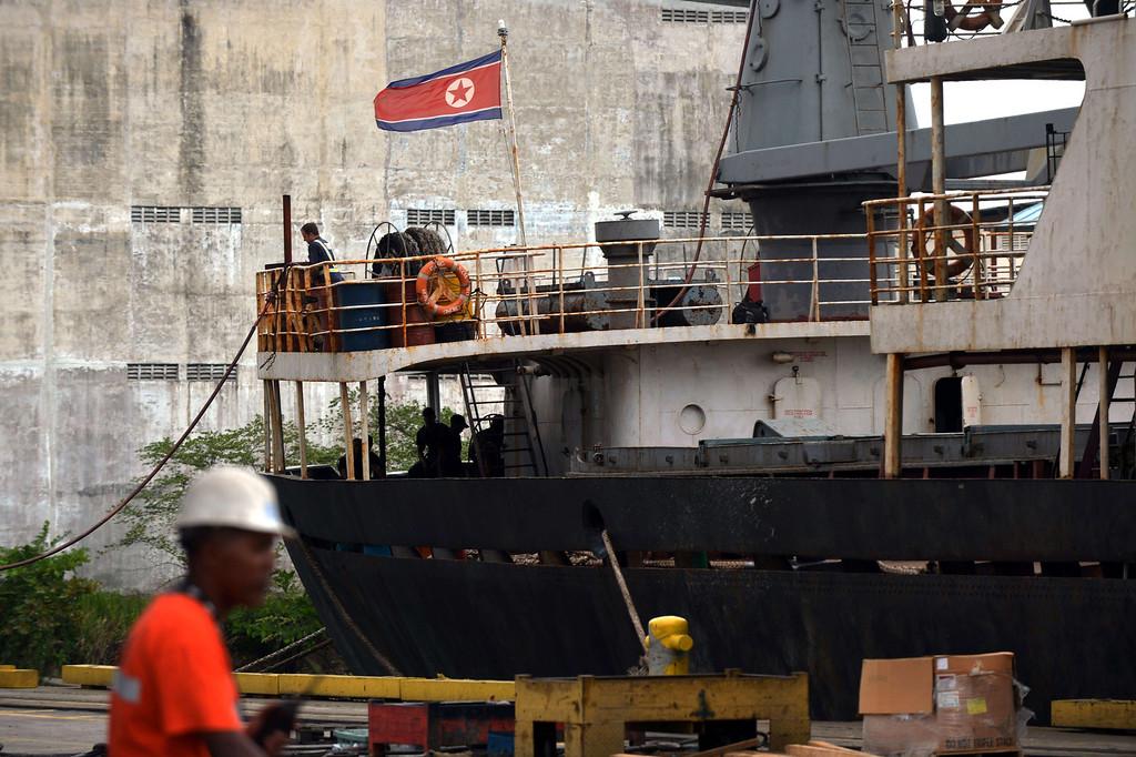 . View of the North Korean vessel Chong Chong Gang at Manzanillo harbor in Colon, 90 km from Panama City on July 16, 2013. AFP PHOTO / Rodrigo ARANGUA/AFP/Getty Images