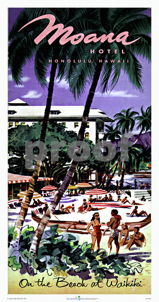 108: On The Beach At Waikiki  Moana Hotel Brochure. Ca. 1949. (PROOF watermark will not appear on your print)