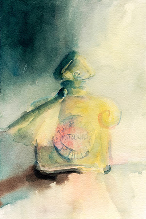 A loose, fresh watercolor illustration of a vintage bottle of Mitsouko perfume.